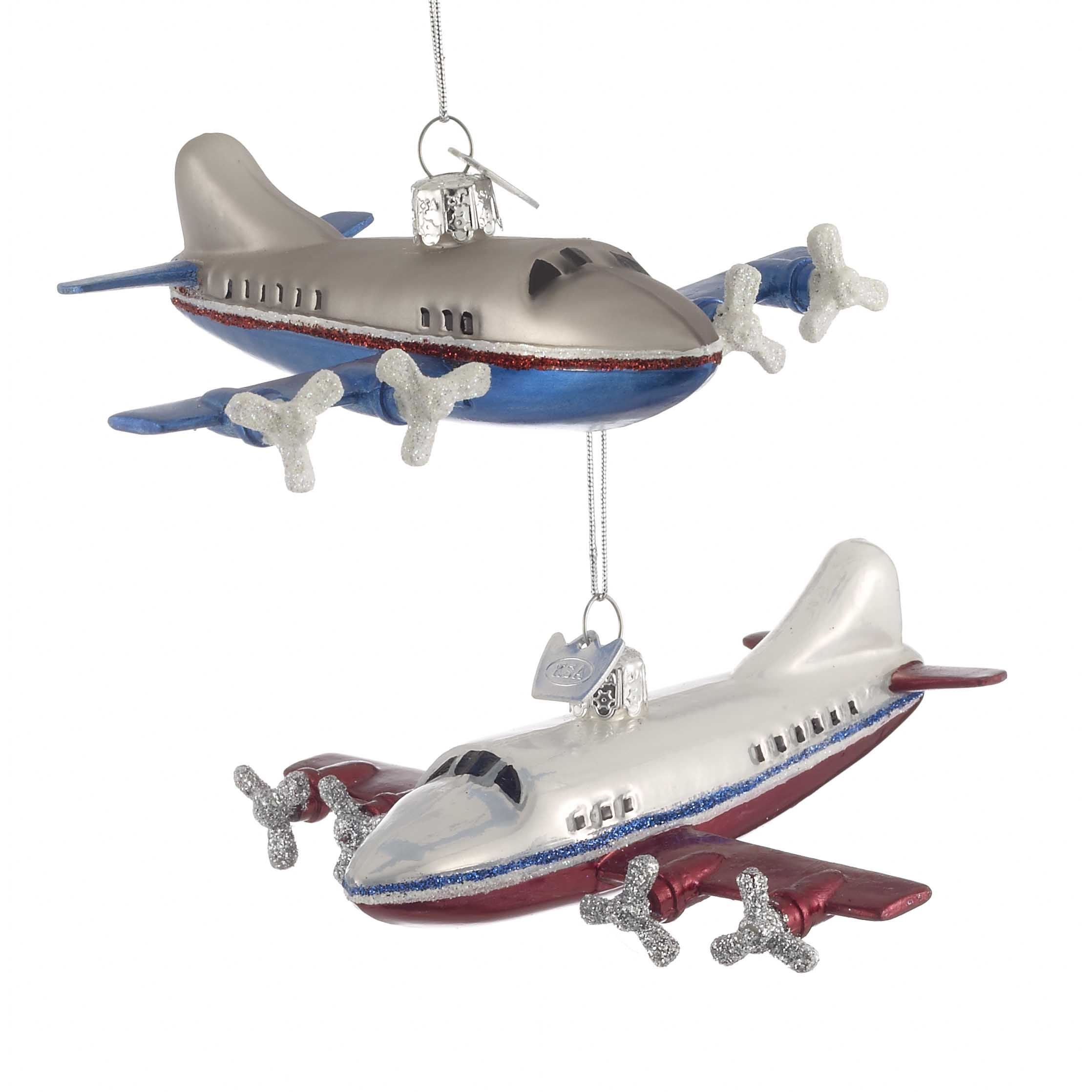 100% authentic 324a5 bf6a7 Four Engine Transport Airplane Ornaments - Set of 2