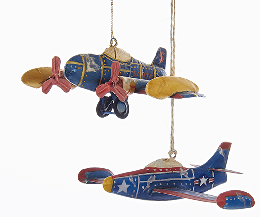 best sneakers b60d6 d1743 Tin Airplane Ornaments - Set of 2