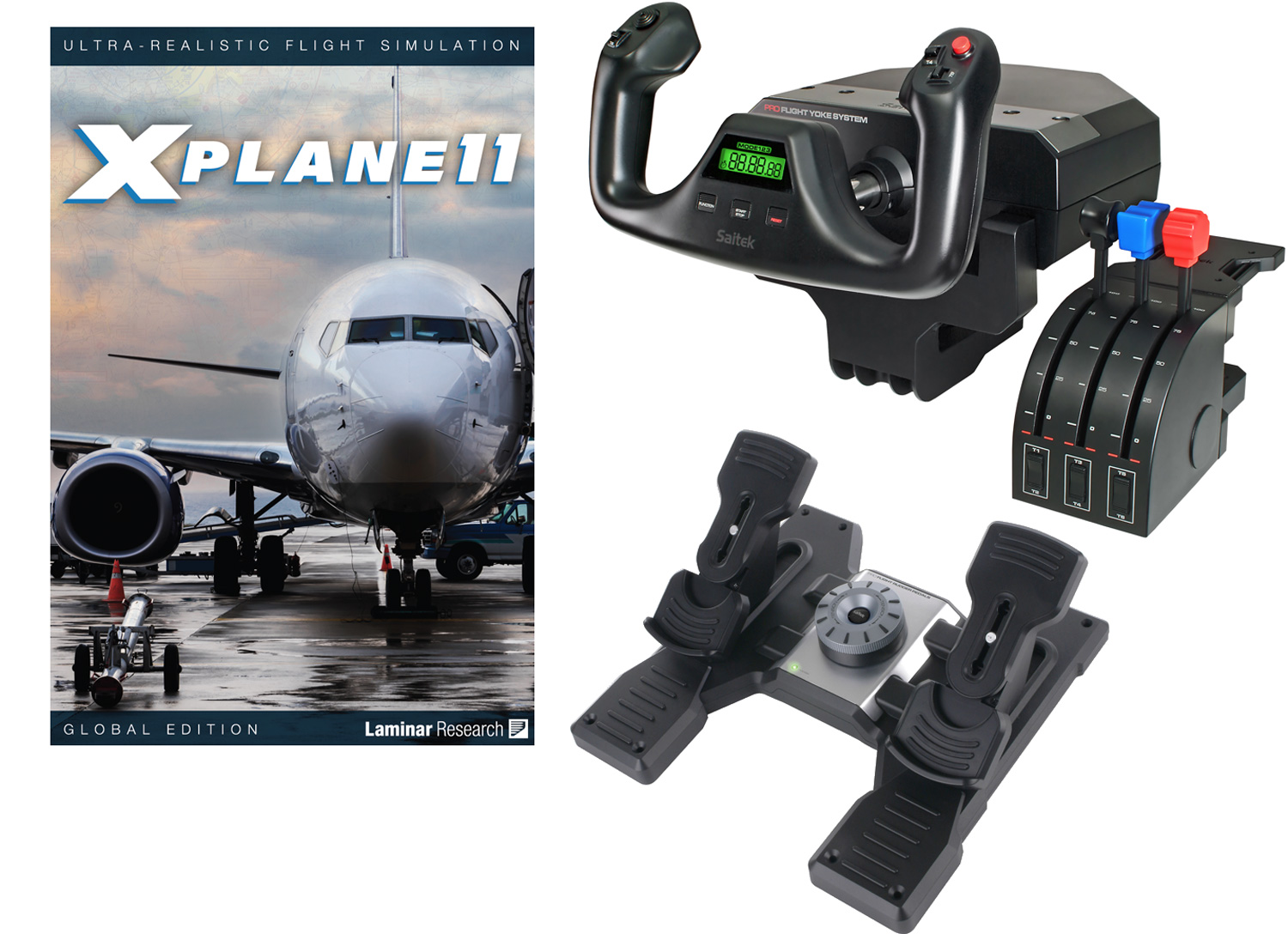 Deluxe Saitek Flight Simulator Bundle - X-Plane 11 DVDs, Yoke & Throttle,  and Rudders