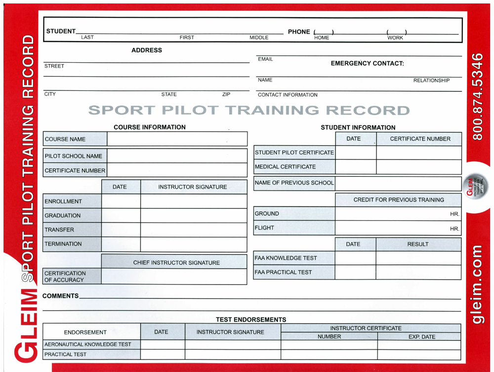 Gleim Pilot Training Record Sport Pilot Mypilotstore
