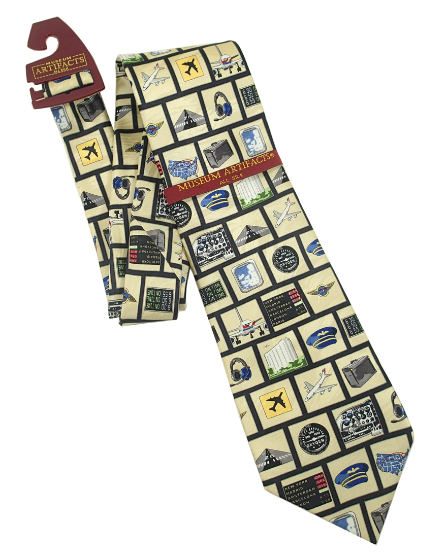 Museum Artifacts Instruments of Flight Airplane All Silk Tie