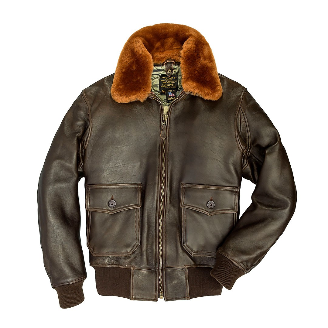 02ac795dd The Cockpit Navy G-1 Antique Lamb Leather Jacket (Dark Brown)