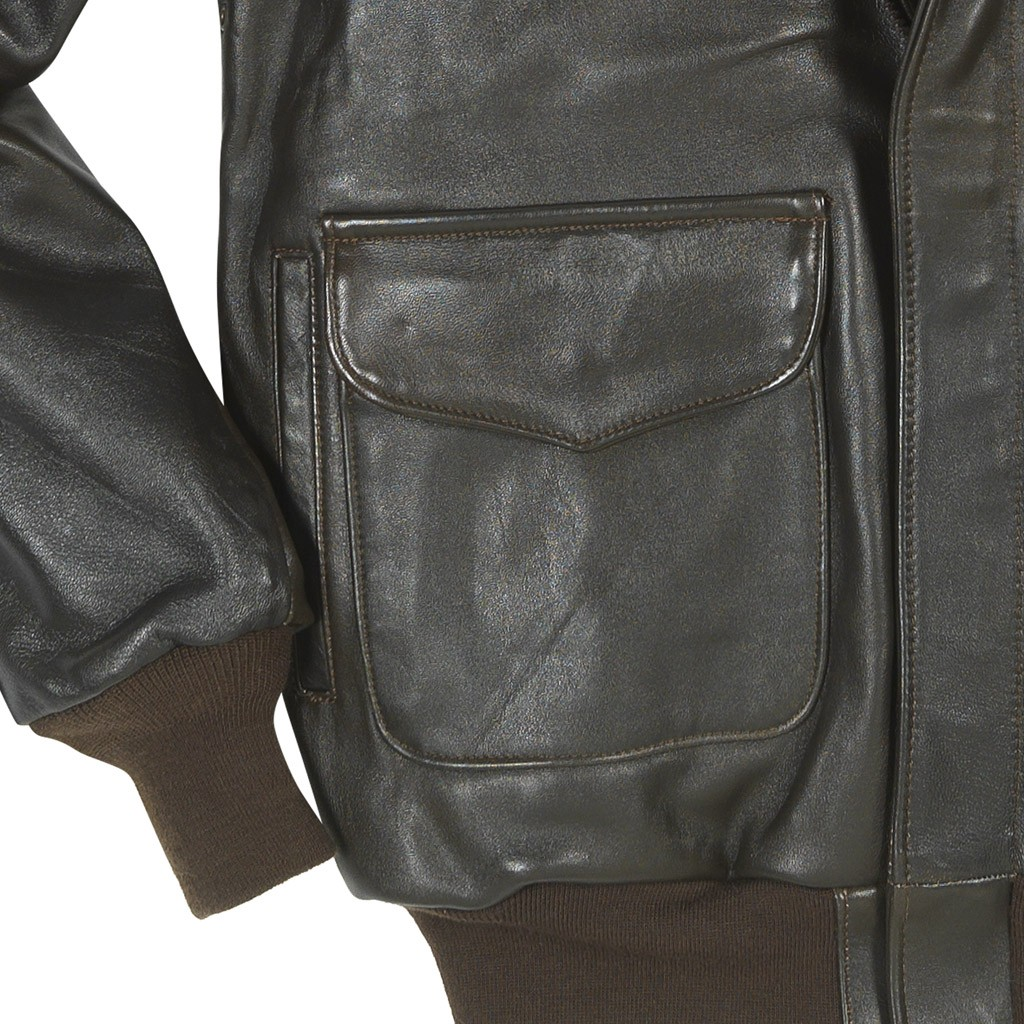 a4956bc1201 The Cockpit Antique Lambskin A-2 Leather Jacket (Dark Brown) -  MyPilotStore.com