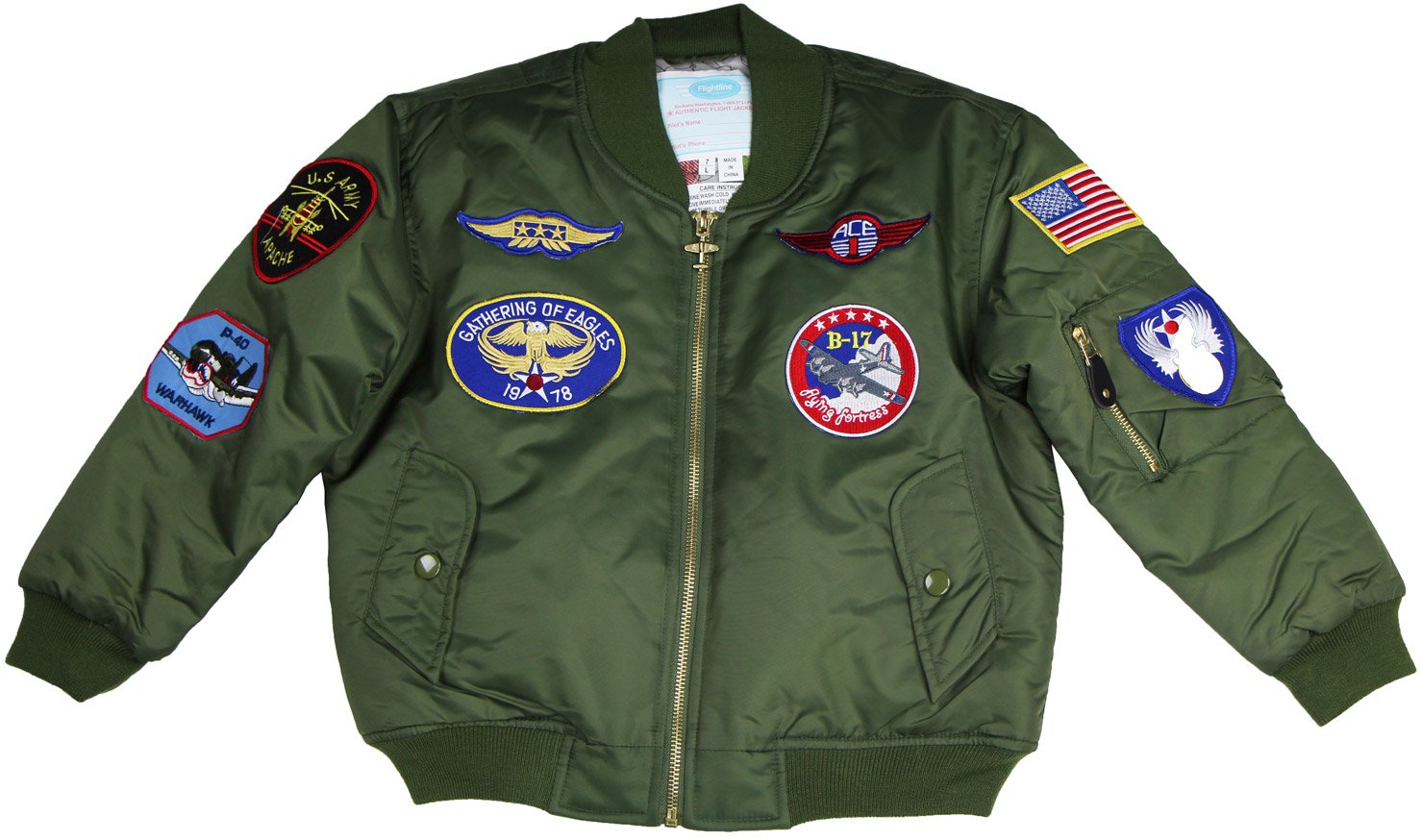 956bac6f6 Youth MA-1 Flight Jacket with Patches