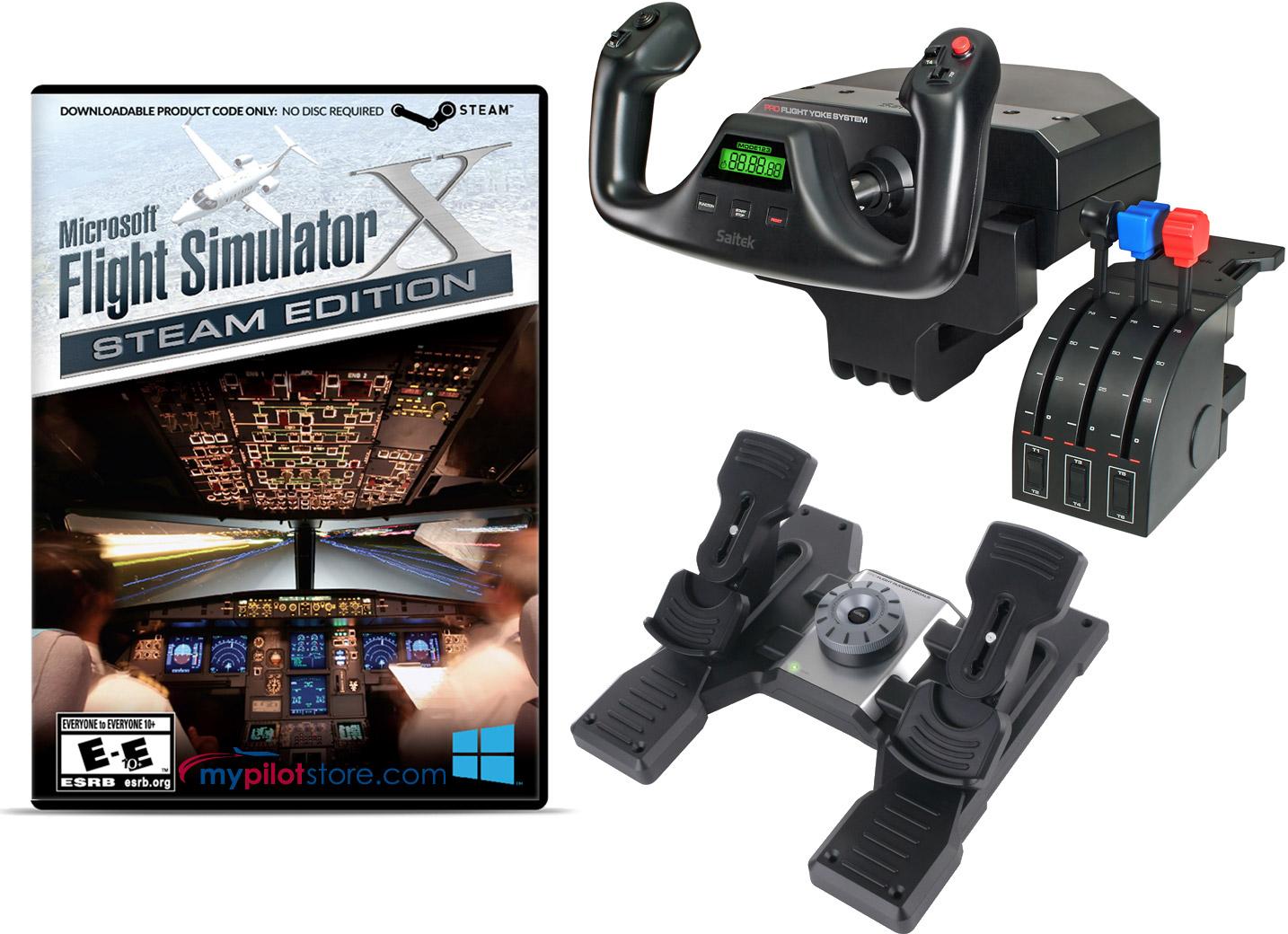 Deluxe Saitek Flight Simulator Bundle - MS Flight Sim X, Yoke & Throttle,  and Rudders
