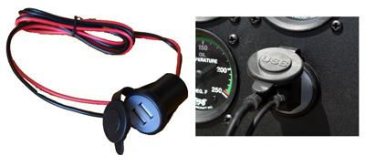 Panel Mounted 4.2 Amp Dual USB Charging Jack