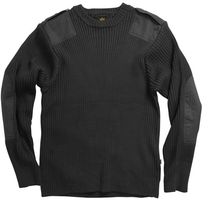Aviator Crew Neck Commando Sweater - Black