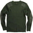 Aviator Crew Neck Commando Sweater - Olive Green
