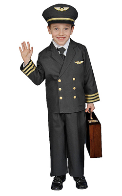 Youth Airline Pilot with Jacket Costume