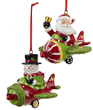 Santa and Snowman Airplane Pilot Ornament
