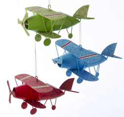 Metal Biplane Ornament - Red
