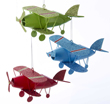 Metal Biplane Ornament - Blue