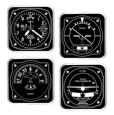 Black & White Aviation Instrument Acrylic Coaster Set
