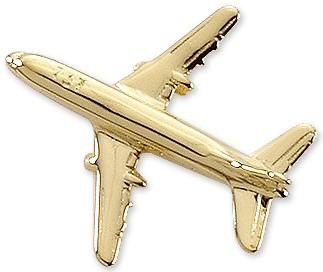 Boeing 737 Airplane Pin - Gold
