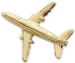 Boeing 737 Airplane Pin - Gold