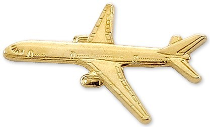 Boeing 757 Airplane Pin - Gold