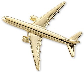 Boeing 767 Airplane Pin - Gold