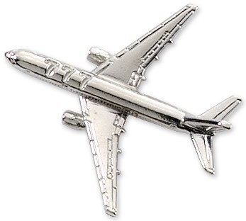 Boeing 777 Airplane Pin - Silver