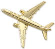 Boeing 777 Airplane Pin - Gold