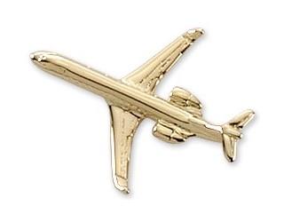 CRJ-200 Airplane Pin - Gold