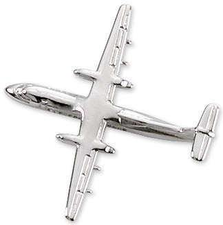 Dash 8 Airplane Pin - Silver
