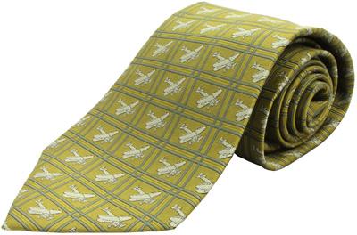 Biplane Silk Tie - Gold