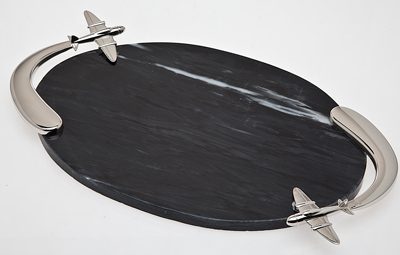 Airplane Marble Serving Board with Knife