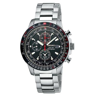 Seiko SSC007 Solar Aviation Chronograph Watch with Alarm