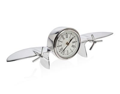 Nickel Plated Twin Engine Airplane Desk Clock