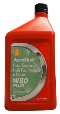 AeroShell 80W Plus Aviation Oil - 12 Quart Case