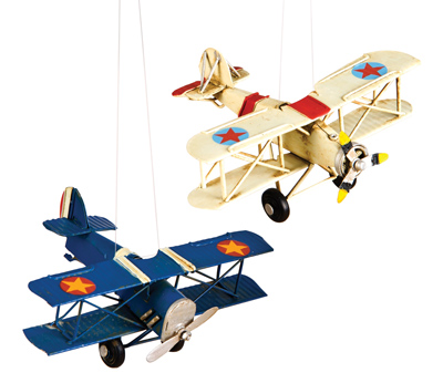 Vintage Metal Airplane Ornaments - Set of 2