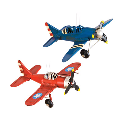 WWII Trainer Metal Ornaments - Set of 2