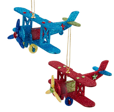 Glittered Wood Airplane Ornaments - Set of 2