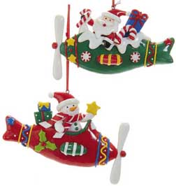 Santa and Snowman Airplane Pilot Ornament