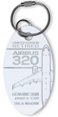 Genuine Airbus A320 PlaneTag - Tail #N640AW