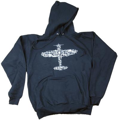 Plane Collage Hooded Sweatshirt  - Black