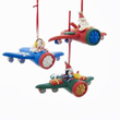 Snowman, Santa and Penguin Airplane Ornament Set