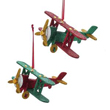 North Pole Wooden Glittered Airplane Ornament Set