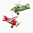 Red and Green Gold Glitter Airplane Ornament Set