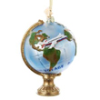 Noble Gems Glass Travel Globe with Airplane Ornament