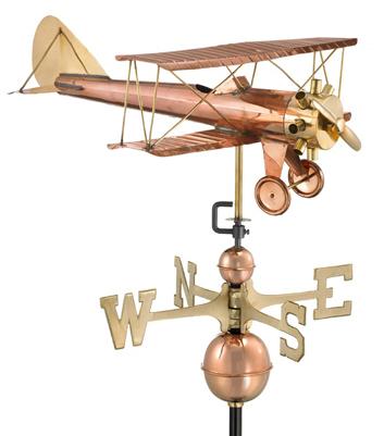 Copper Biplane Weathervane - Standard Size
