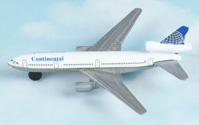 Continental Airlines DC-10 Hot Wings Die-Cast Airplane