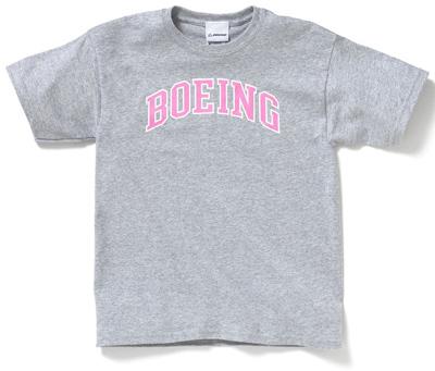 Boeing Logo Varsity Youth T-Shirt -  Pink on Gray
