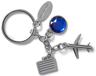 Airplane and Suitcase Charm Keychain