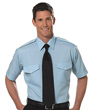 Van Heusen Aviator Shirt- Men's Short Sleeve - BLUE