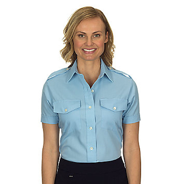 Van Heusen Aviator Shirt - Ladies Short Sleeve - BLUE