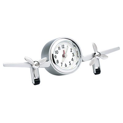Brushed Chrome Multi-Engine Airplane Clock