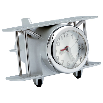 Brushed Chrome Biplane Desk Clock