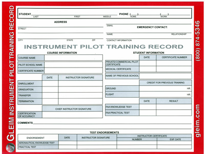Gleim Pilot Training Record - Instrument