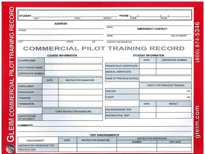 Gleim Pilot Training Record -  Commercial